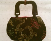 Purse Bag Dragon Brocade Beaded Black Gold Pink Wooden Handles