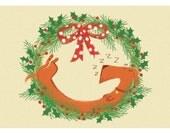 Sleepy Stretch the Sausage Dog Christmas Card