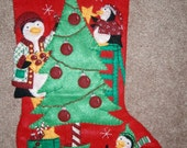 Christmas Stocking Finished Debbie Mumm Peppermint Penguins 18""