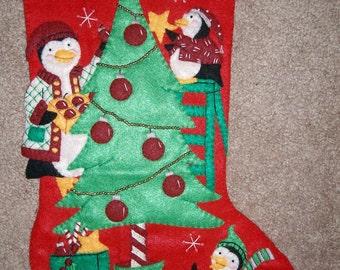 "Christmas Stocking Finished Debbie Mumm Peppermint Penguins 18"""