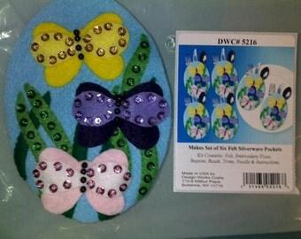 "Easter Egg Shaped ""Butterfly"" Silverware (flatware) holder's 6 -  Handstitched"