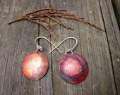 Drosera Drops 2- recycled Copper Earrings