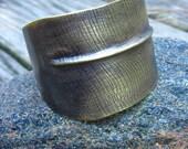 Feather Cuff- recycled brass cuff