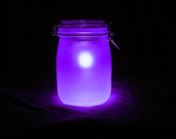Sun Mason Jar Night Light Purple