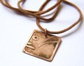 HUMAN Mayan Pendant ( Maya EB / Spanish HUMANO ). Galactic Symbol or Gliph or Sign Maya. Etched copper