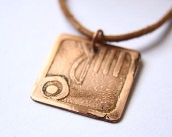 HAND Mayan Pendant ( Maya MANIK / Spanish MANO ). Galactic Symbol or Gliph or Sign Maya.Etched copper