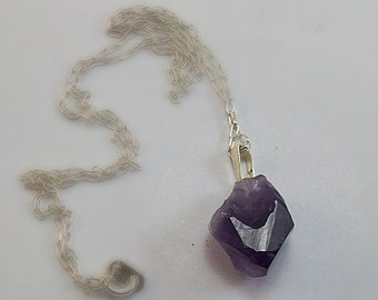 Raw Rough Natural Purple Amethyst Point Necklace Sterling Silver Chain