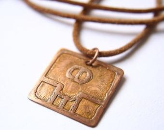 SEED Mayan Pendant ( Maya KAN / Spanish SEMILLA ). Galactic Symbol or Gliph or Sign Maya.Etched copper.