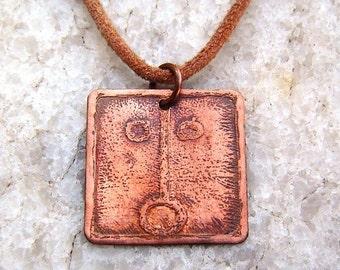 SUNLIGHT Mayan Pendant ( Maya AHAU / Spanish SOL ). Galactic Symbol or Gliph or Sign Maya. Etched copper.