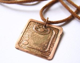 STORM Mayan Pendant ( Maya CAUAC / Spanish TORMENTA ). Galactic Symbol or Gliph or Sign Maya. Etched copper