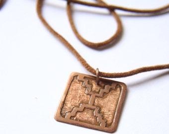 MIRROR Mayan Pendant ( Maya ETZNAB / Spanish ESPEJO ). Galactic Symbol or Gliph or Sign Maya. Etched copper
