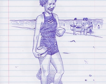 Woman on a Beach Original Pen & Ink Drawing