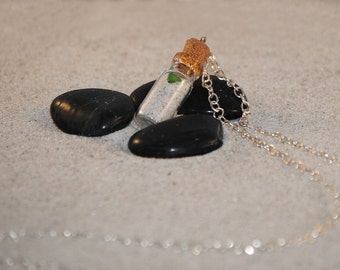 Bottled Beach Sand and Sea Glass Necklace by Just Beachy Jewelry