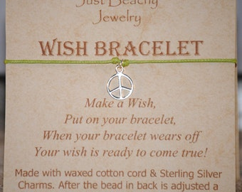 Wish Bracelet - Sterling Silver Peace Sign on Lime Green Cord by Just Beachy Jewelry