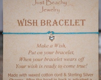 Wish Bracelet - Sterling Silver Heart on Aqua Cord by Just Beachy Jewelry