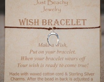 Wish Bracelet - Sterling Silver Horseshoe on Brown Cord by Just Beachy Jewelry