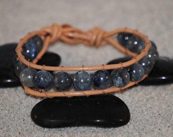 Marine Blue Kyanite Beaded Leather Bracelet by Just Beachy Jewelry