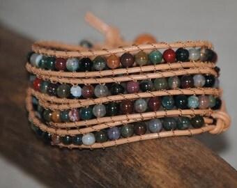 Multi Colored Carnelian Beaded Leather 4-Wrap Bracelet by Just Beachy Jewelry