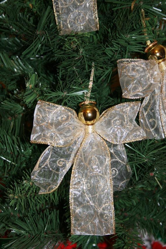 Items Similar To Angel Ribbon Ornaments Set Of 3