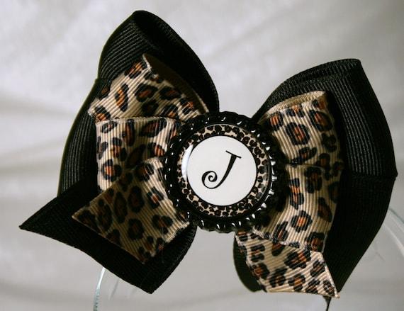 Animal Print Alphabet Hair Bow - Black and Brown Boutique Hair Bow with Animal Print Alphabet Bottle Cap Center