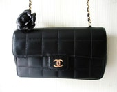 CHANEL CAMELIA black lambskin quilted leather mini shoulder bag handbag with leather flower