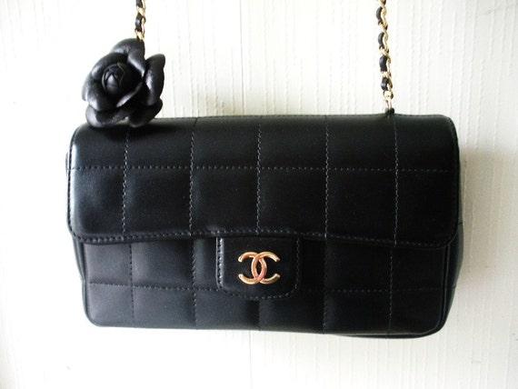 CHANEL CAMELIA black lambskin quilted leather mini shoulder bag handbag with leather flower