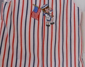 Red, White & Blue Seersucker Jon Jon with Sailor boy carrying Flag, Size 18 mo./1 yr., Made in USA by Staria's Dream