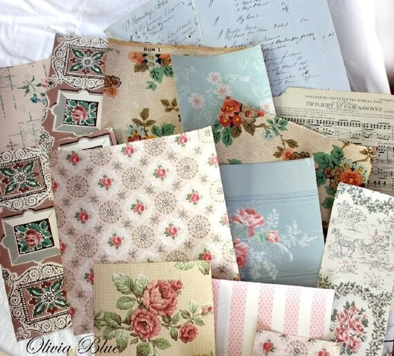 VINTAGE WALLPAPER PACK. 1940s to early 1950's Vintage Paper, For Collage, Mixed Media, Art and Crafts. 122