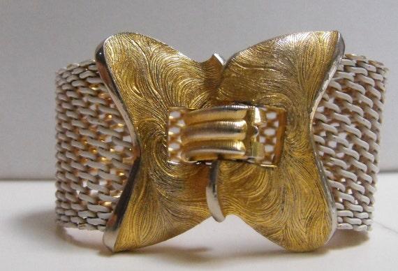 Signed Trifari wide mesh bracelet