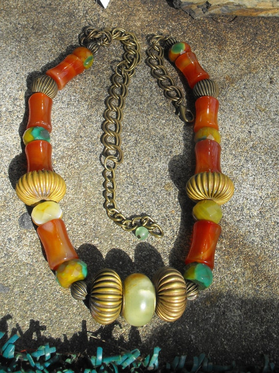 Translucent  Old Jade, Bamboo Carnelian necklace