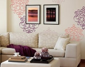 Damask Wall Stencil in Modern Ribbon Style for DIY Wallpaper Look