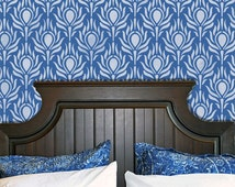 Peacock Feather Wall Stencil - Boho Chic Wallpaper Painted onto Large Accent Wall - Bedroom Wall Decor