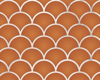 Moroccan Stencil - Small Scallops Pattern for Painting Walls and Floors