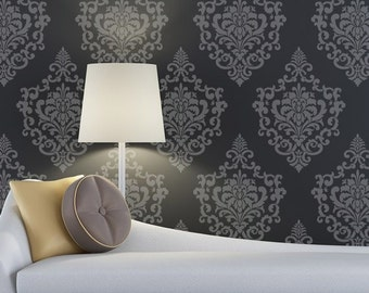 Reusable Damask Wall Stencil - European Vinatge Ornamental Design - Custom Wallpaper Look - Better than Wall Decals
