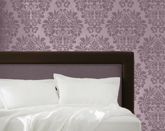 Allover Fabric Damask Pattern Wall Stencil - European Vintage Wallpaper Look using DIY Reusable Stencil Art