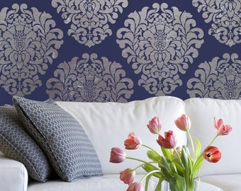 Large Wall Stencil Pattern- Grand Damask Allover Stencil for Wall Decor and More