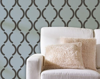 Large Graphic Wall Stencil Art Deco Design - Trellis Pattern Painted onto Walls and Furniture