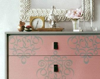 Furniture &Wall Stencil Small Ribbon Damask Stencil  Featured in Martha Stewart Living