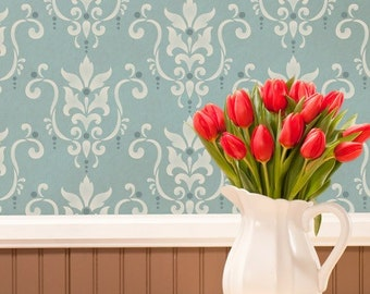 Damask Wallpaper Wall Stencil - Custom Wall Mural with DIY Painted Designs - Vintage Classic Wall Art