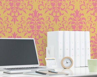 Wall Stencil Foliate Damask Allover Stencil for Elegant DIY Wall Decor