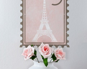 Wall Stencil Pattern Paris Postage Stamp for Shabby Chic French Vintage Wall Art Wall Decal