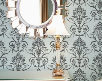 Floral Wall Damask Stencil Vase and Pearls Allover for  DIY Decor. More Artistic Than Wall Decals, Cheaper Than Wallpaper:)