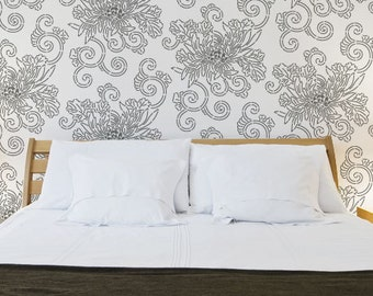 Large Wall Stencil Design for DIY Painting Decor - Japanese Oriental Chrysanthemum Flower Wallpaper