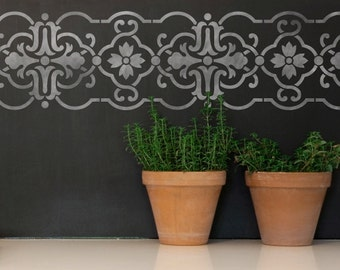 Granada Wall Border Stencil - Spanish Wall Decor - European DIY Wall Mural Designs