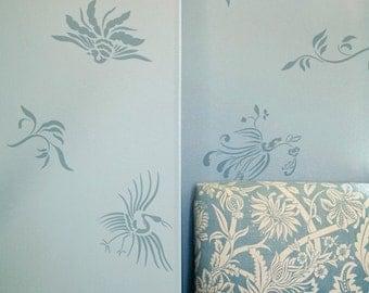 Wall Pattern Stencil Oriental Brushstroke Asian Inspired Stencil for Easy DIY Decor