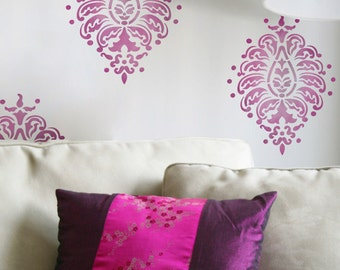 Resuable Wall Stencils Large Bombay Paisley Motif Stencil Set for DIY Wall Decor