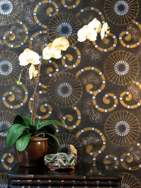 Kyoto oriental flower wall stencils for painting modern asian inspired decor from - Oriental stencils for walls ...