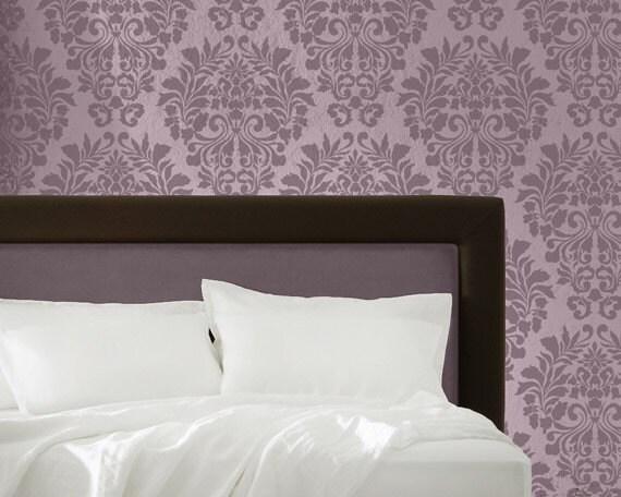 Allover Fabric Damask Pattern Wall Stencil - European Vintage Wallpaper Look using DIY Reusable Stencil Art
