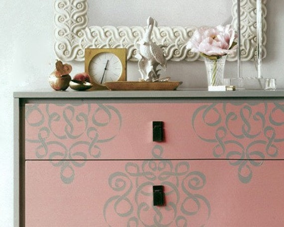 Furniture wall stencil small ribbon damask stencil featured - Stencil patterns for furniture ...