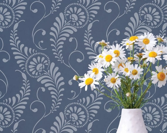 Wall Stencil for Decorative Wall Mural Painting - Modern Feathers Damask Wallpaper Pattern